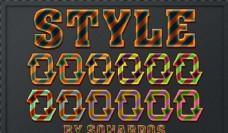 多彩的立体斜纹字体样式