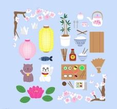 彩色日本元素图标图片