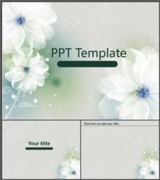 梦幻柔美花朵背景PPT模板
