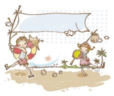海边度假的卡通人物