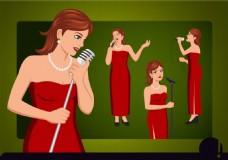 卡通歌手矢量素材