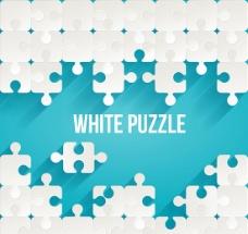 白色拼图块背景矢量素材