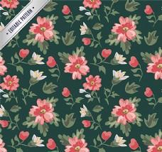 水彩花卉无缝背景矢量素材图片