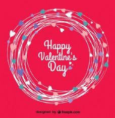 情人节的红卡与一圈的心