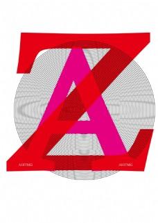 ZA字母圆圈 海报广告设计字体海报 创意