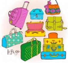 彩色行李包