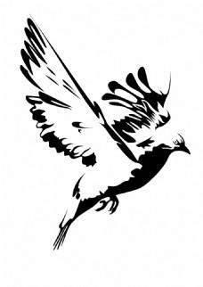黑白水墨鸟