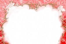 卡通红色花纹边框png元素