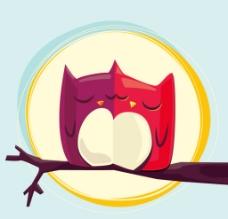卡通情侣猫头鹰图片
