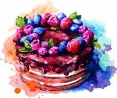 水彩绘美味的蛋糕插画