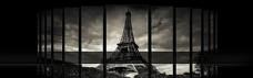 大气埃菲尔铁塔黑白色调淘宝海报背景