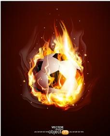 烈焰足球背景矢量素材图片