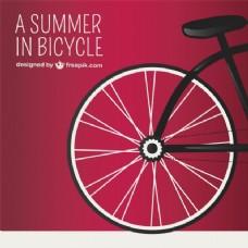 红色背景与自行车车轮
