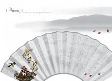 古典浪漫折扇婚纱背景图片