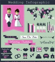 時尚扁平化婚禮元素矢量素材