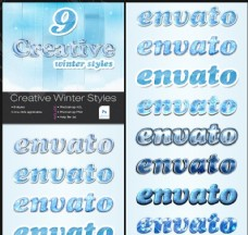 9款冬季蓝色冰墙图案艺术字样式