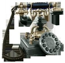 手绘复古电话png透明素材