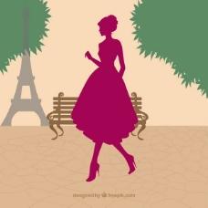 巴黎女子剪影