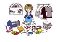 时尚女孩听音乐简笔画场景插画图片