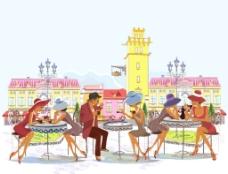 创意街头咖啡馆插画矢量素材图片