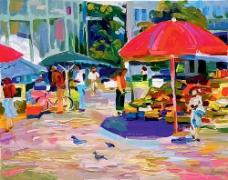 街道市场风景油画