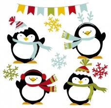 冬天快乐的企鹅