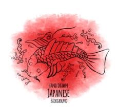 手绘日本鱼用水彩颜料的背景