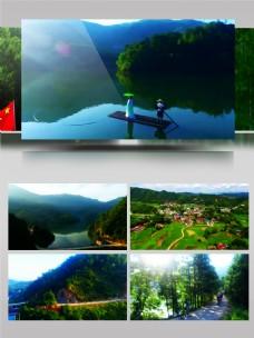 航拍美丽的斑竹风景与文体人物视频素材