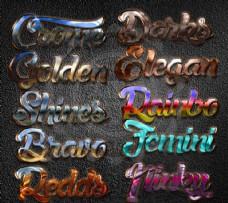 10款时尚镏金质感PS字体样式