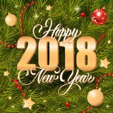 2018年圣诞节与新年杉树背景矢量海报