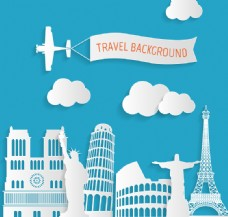 简洁风格环球旅行剪贴画矢量图