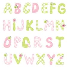 布艺纽扣字母设计矢量素材下载