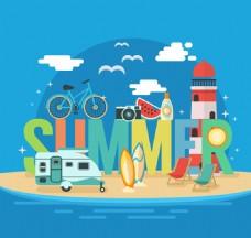 夏季旅行插画矢量素材