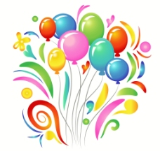 彩色气球背景元素