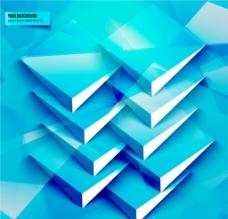 蓝色立体三角形背景图片