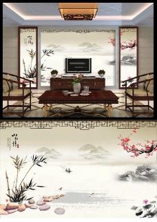 中国风山水画背景墙图片