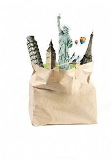 地标建筑纸袋素材