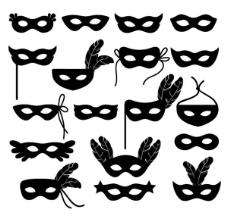 面具剪影矢量素材下载