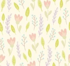 水彩树叶花朵背景矢量素材
