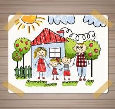 家庭儿童插画