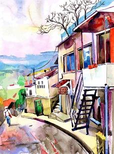 街道房子风景油画