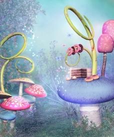 可爱梦幻蘑菇图片