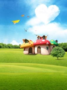 儿童摄影背景 草地上的蘑菇屋图片