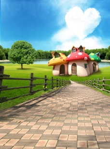 儿童摄影背景 蘑菇屋图片