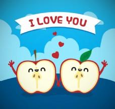 可爱苹果情侣矢量素材