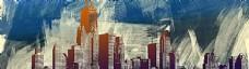城市手绘banner背景