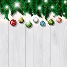 圣诞装饰品在白木的背景