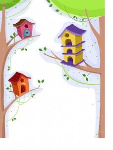 树上的鸟笼插画背景