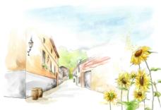 手绘水彩街景风光插画图片