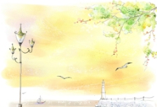 手绘水彩码头风光插画图片